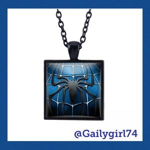 Other - Spiderman Square Glass Cabochon Black Necklace